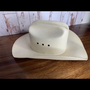 Vintage J.B. Dillon Straw Ivory Cowboy Hat 6 7/8